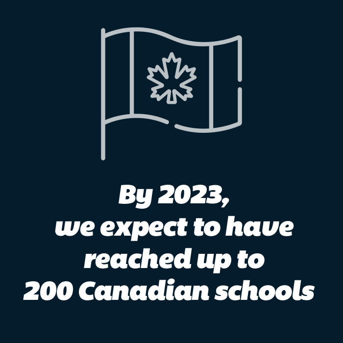 By 2023 we expect to have reached up to 200 Canadian schools