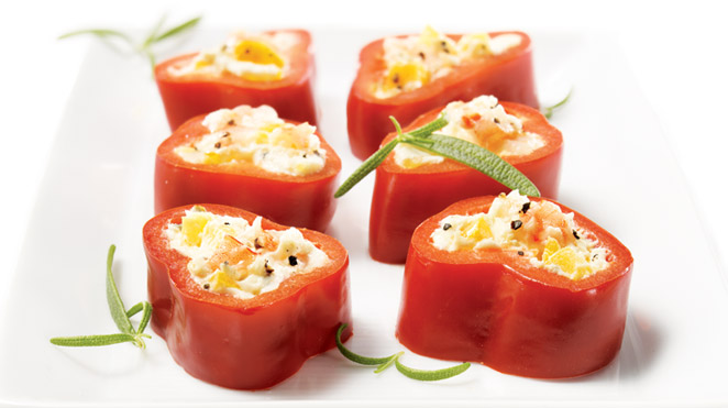 Bell pepper, goat cheese