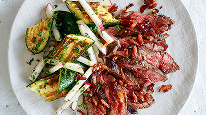 Grilled Beef with Cranberries and Roasted Zucchini from Ricardo