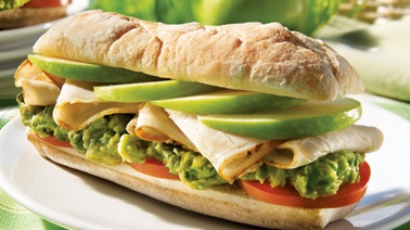 Roast pork and green apple baguettine