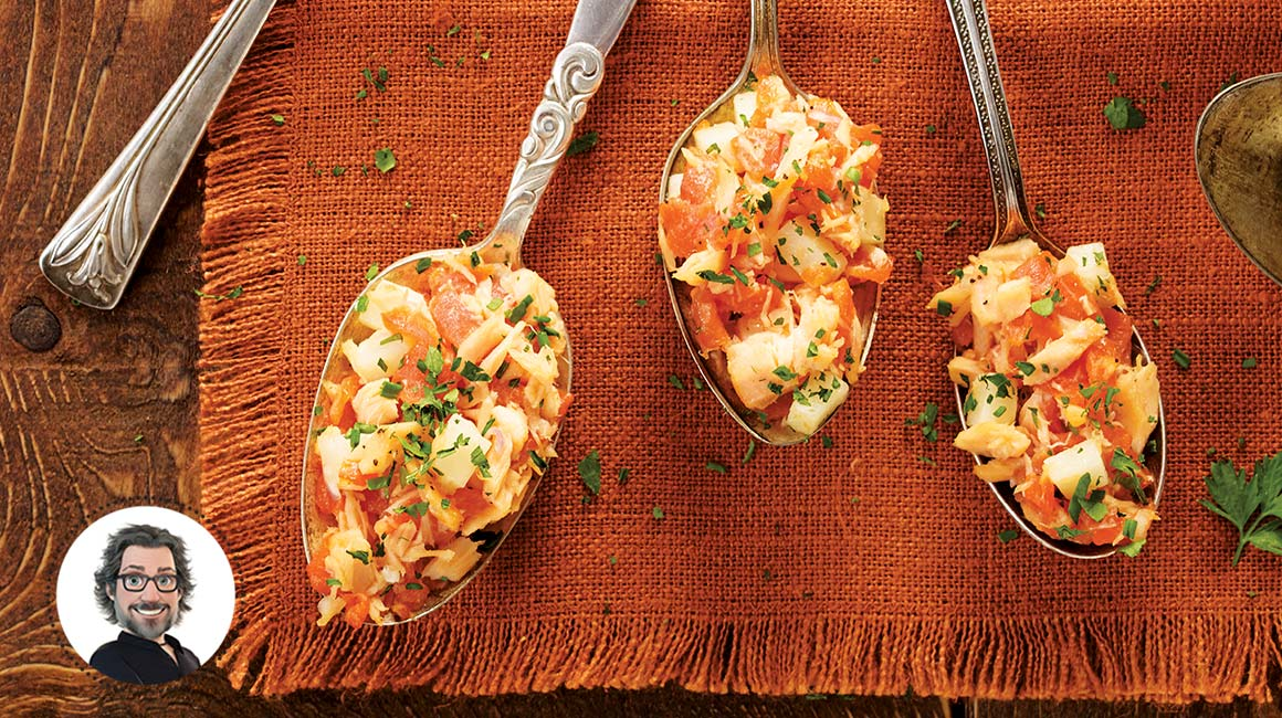 Spanish-style two-salmon appetizer spoons