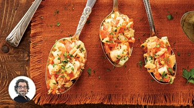 Spanish-style two-salmon appetizer spoons from Christian Bégin.