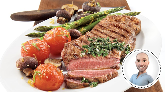 New York strip loin steaks with chimichurri sauce from Stefano Faita