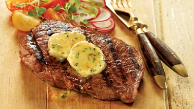 Steaks with lemon-parsley butter from Josée di Stasio
