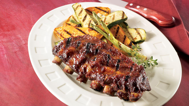 maple barbecue sauce pork ribs with grilled dijon vegetables iga recipes. Black Bedroom Furniture Sets. Home Design Ideas