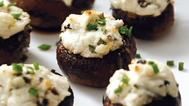 Goat cheese-stuffed mushroom caps