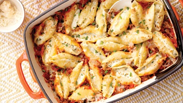 Four-cheese stuffed pasta shells