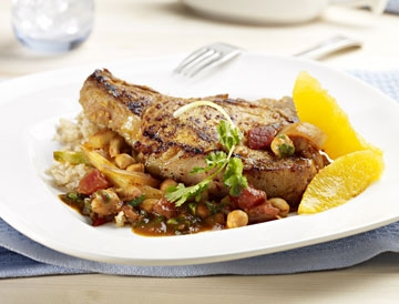 Quebec Milk-Fed Veal Chops with Orange, Fennel and Chick Peas