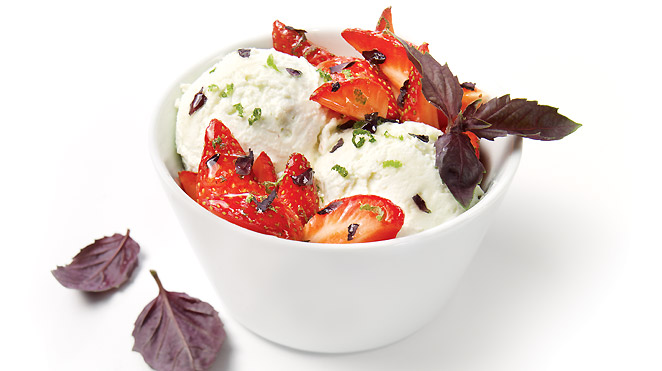 frozen yogurt with stawberries basil and lime
