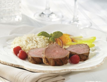 Quebec Milk-Fed Veal Tenderloin with Raspberry and Basil Marinade