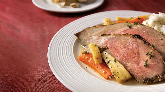 Braised leg of lamb with vegetables