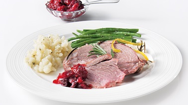 Leg of lamb and cranberry compote