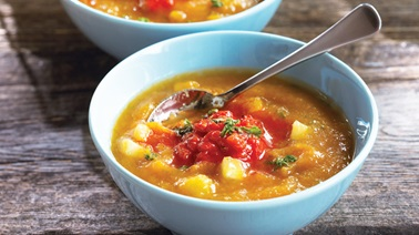 Roasted yellow pepper gazpacho