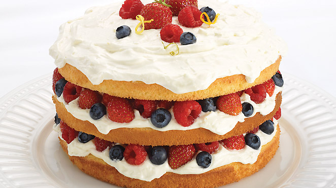 Blue And Red Berries Cake