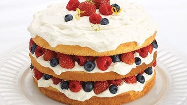Berry sponge cake with citrus and mascarpone cream