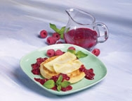 Brie Waffles with Raspberry Sauce