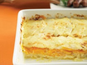 Pumpkin, squash and root vegetables au gratin