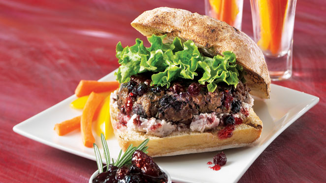 Berry-bison burger with goat cheese