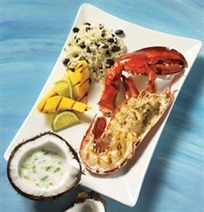 Grilled lobster and mango with coconut sauce