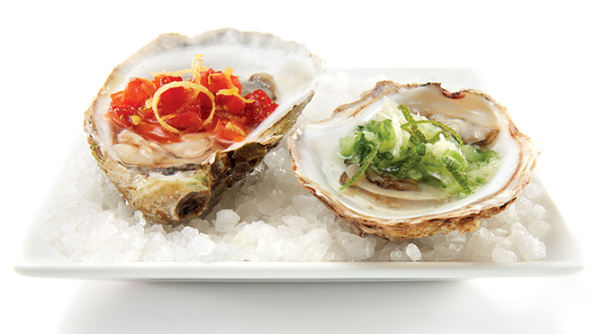 Oysters and salsas