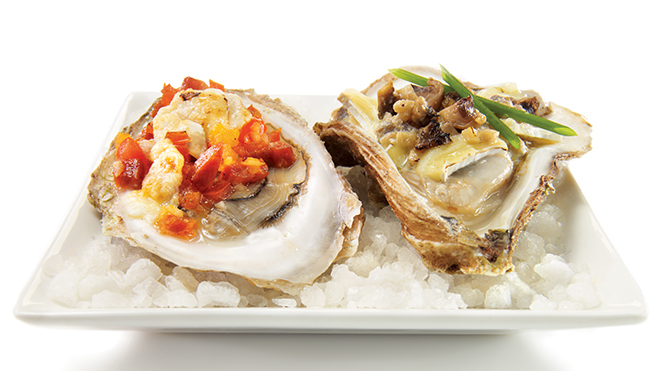 Oysters gratin two ways