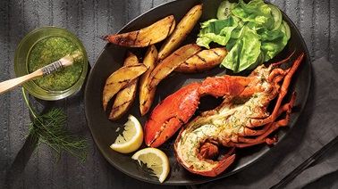 Grilled lobster with lemon and dill