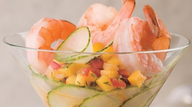 Shrimp and Mango Salsa Martinis