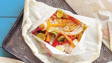Steamed haddock with leeks, carrots & fennel