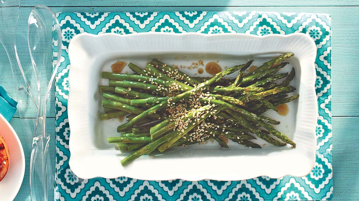 Grilled asparagus with sesame vinaigrette