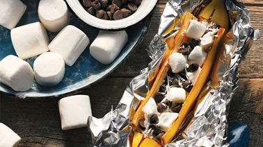 Campfire chocolate-marshmallow banana boats