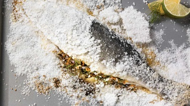 Salt-crusted sea bass with orange-dill gremolata