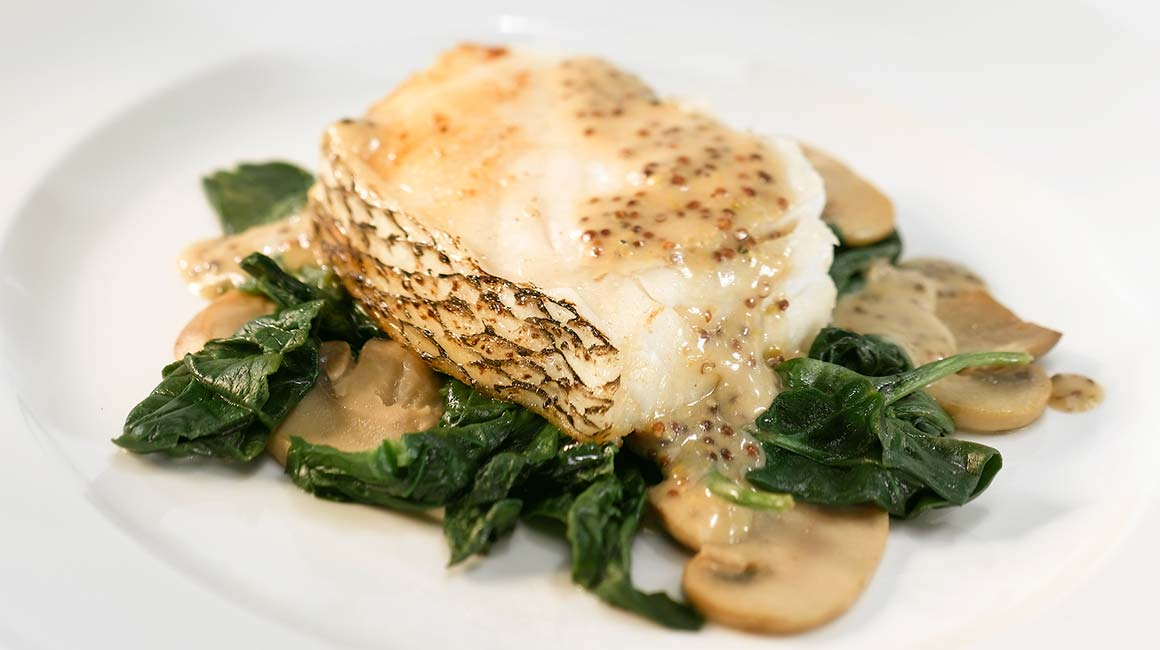 Striped Bass with Le Mi-Carème Cheese and Whole Grain Mustard Sauce