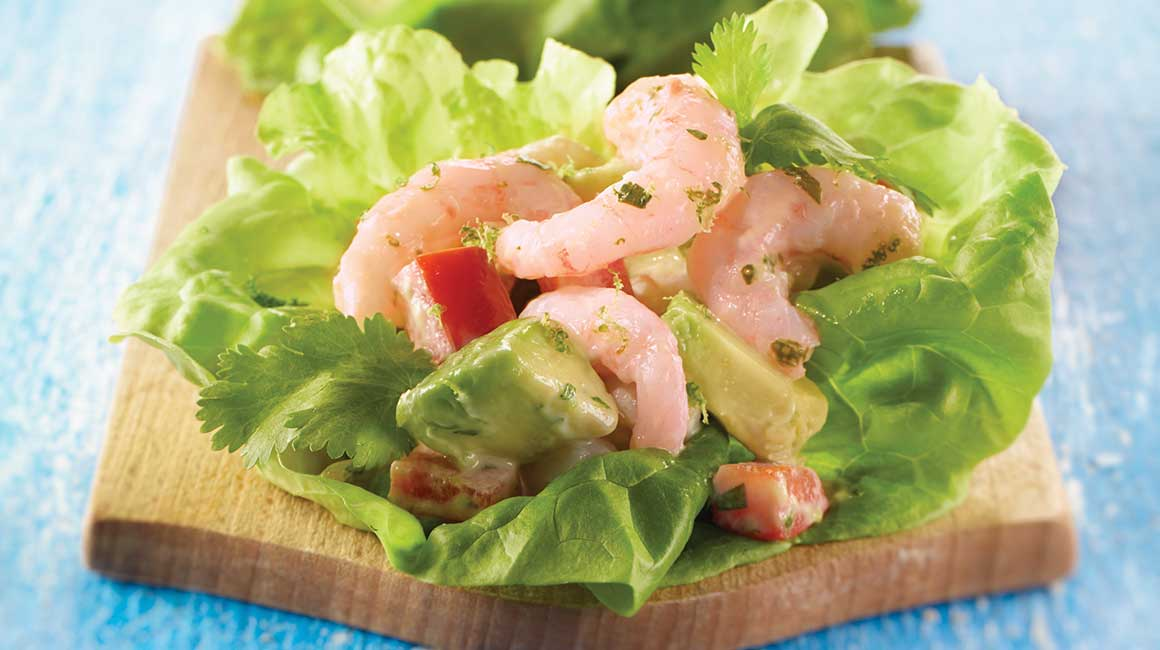 Nordic shrimp on Boston lettuce boats