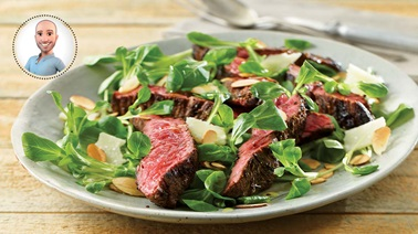Flap steak with mache & almonds from Stefano Faita