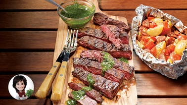 BBQ flap steak and green sauce from Josée di Stasio