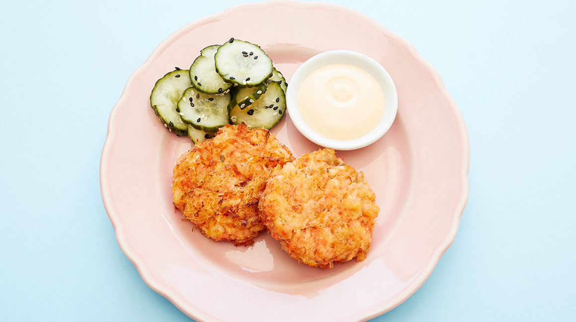 Seafood Patties with Pickled Cucumbers