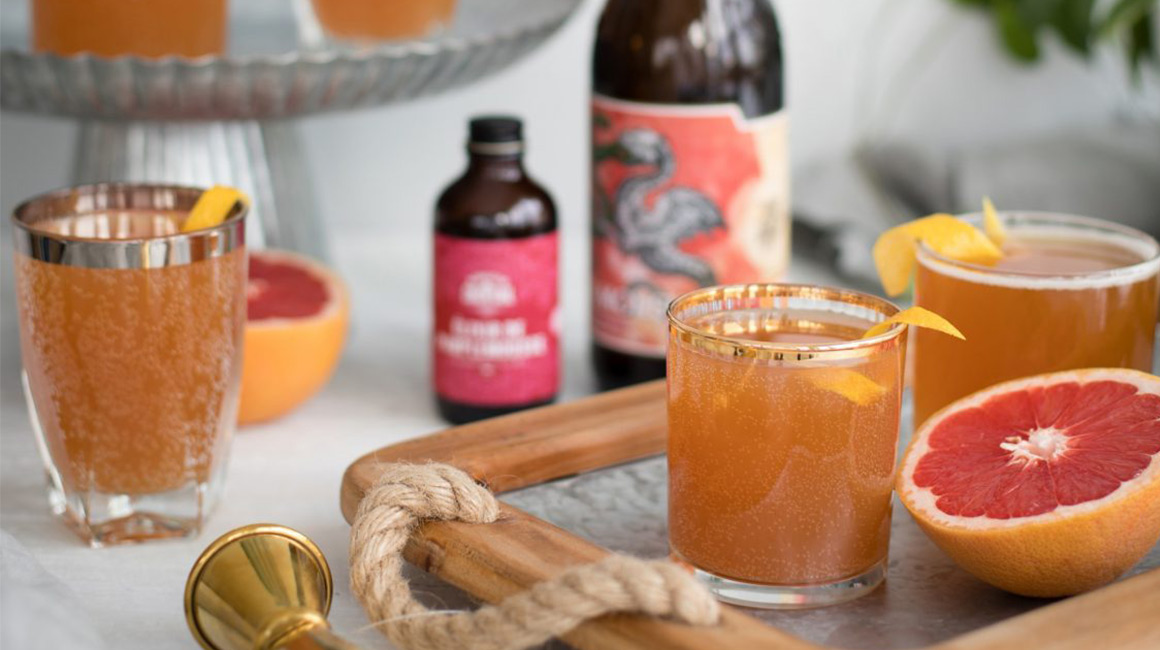 IPA Beer with Grapefruit Syrup