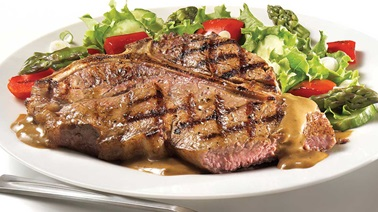 T-bone steak with peppercorn sauce