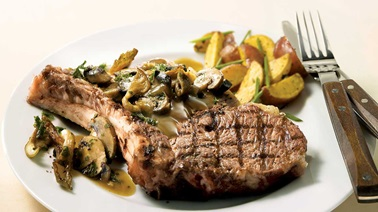 Prime rib steaks with panfried wild mushrooms