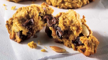 Pumpkin and dark chocolate chip cookies