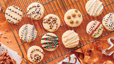 Holiday sprinkle shortbread cookies