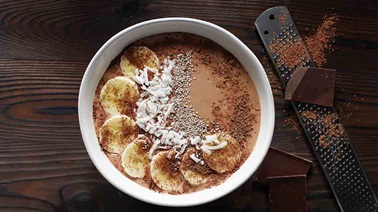 Coconut chocolate banana tofu smoothie bowl