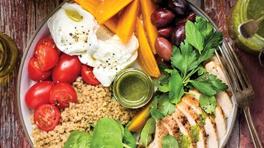 Grilled chicken and quinoa bowl