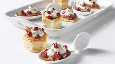 Goat cheese and pomegranate bites