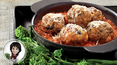 Veal and olive meatballs with tomato sauce from Josée di Stasio