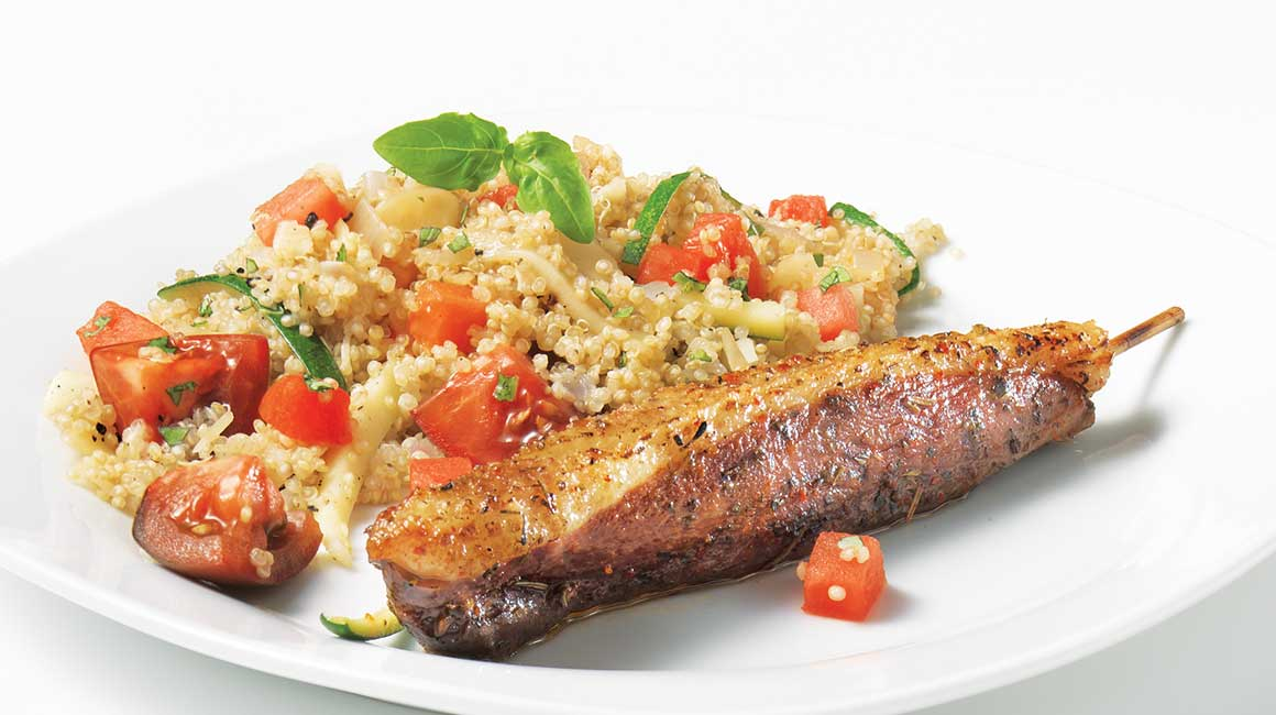 Barbecued Duck Magret Brochettes with Quinoa Salad