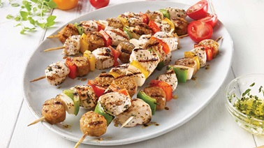 Turkey breast and mild Italian sausage skewers
