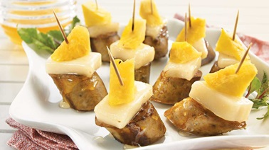 Pineapple and Chèvre Noir goat cheese sausage skewers