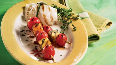 Grilled tomato and melon skewers