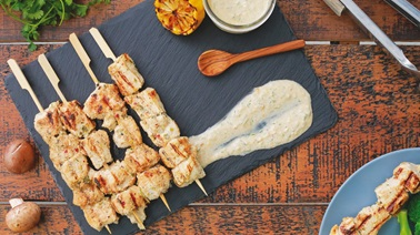 Grilled turkey skewers